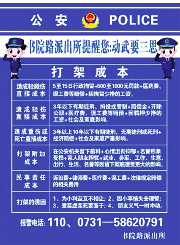 湘潭民警告诉你打一架要花多少钱,这份打架成本单请收好