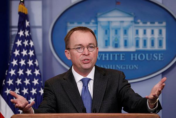 特朗普将任命白宫行政管理与预算局局长为幕僚长