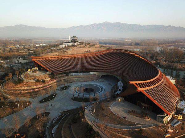 北京世园会的标志性建筑,中国馆.其形似锦绣如意,充满中国特色.图片