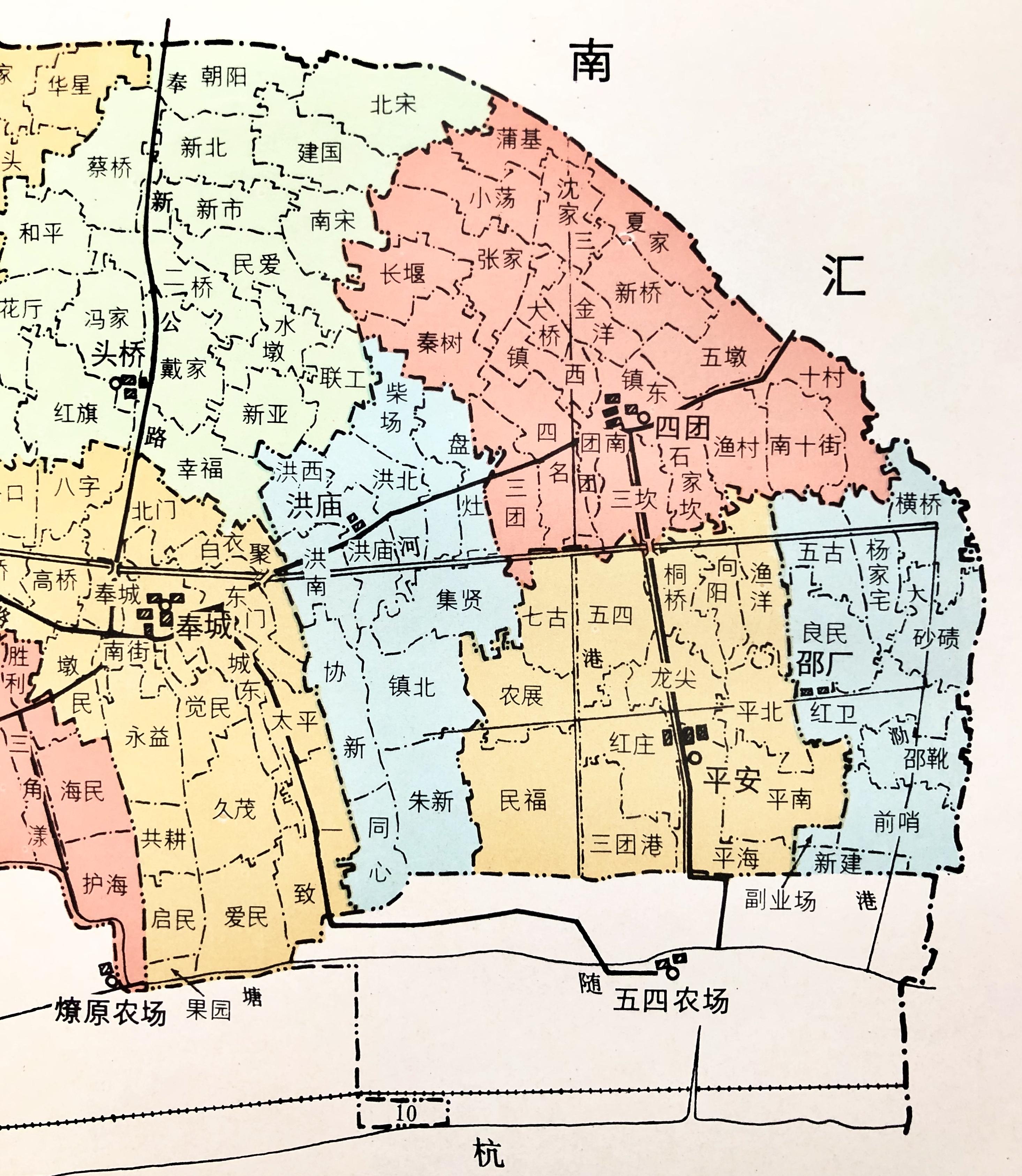 五四村、五四农场(地图来自奉贤县志)本文图片均由作者提供