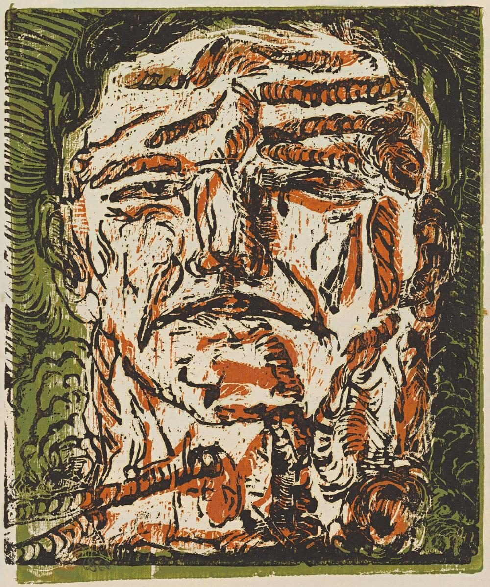 Georg BaselitzGroßer Kopf (Large Head), 1966,Chiaroscurowoodcut, printed from two blocks, in black over brown and green, on primed paper, 47.6 x 40.3 cmPrivately owned, © Georg Baselitz, Photo: Jochen Littkemann, Berlin....