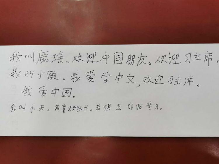 祁燕的学生们用中文写下期待。(新华社记者 王申 摄)