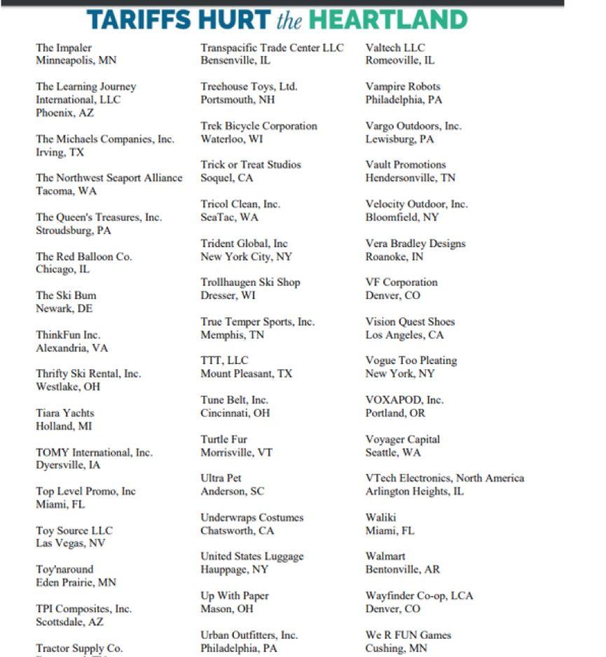 图为这600多家上书特朗普的企业的部分名单