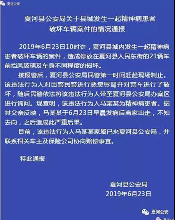 甘肃夏河一精神病人发病后离家出走,破坏路边21辆车及警车