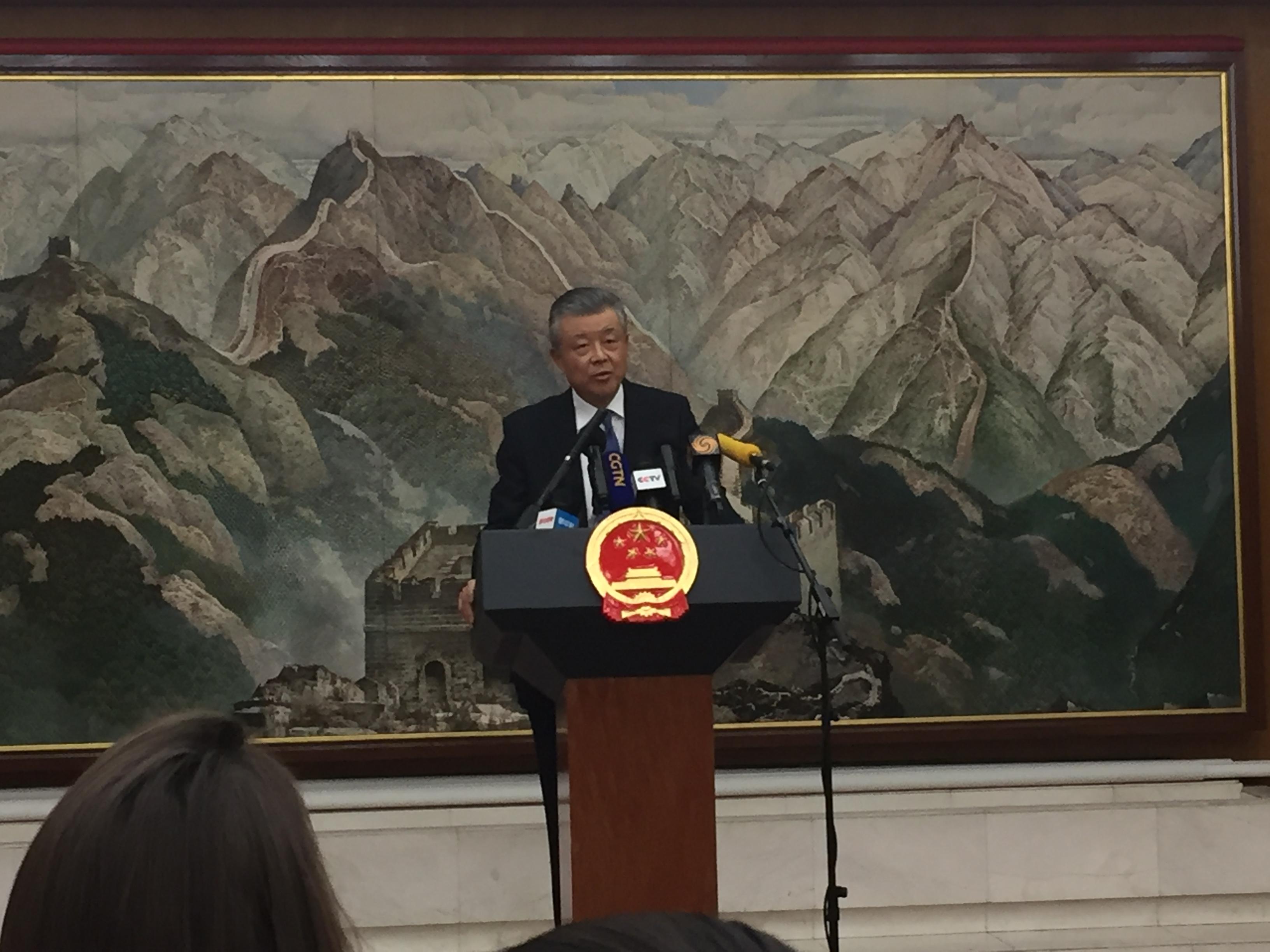 刘晓明大使在7月3日举行的中外记者招待会上就香港问题阐述中方立场。 科技日报 图