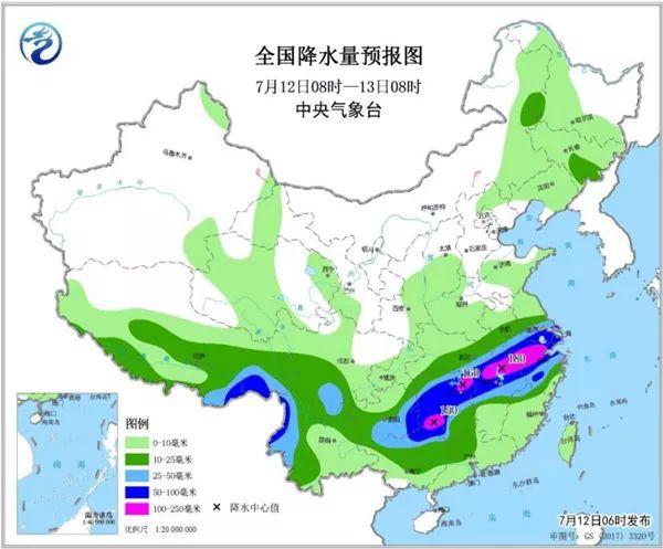 7月12日至13日全国降水量预报图