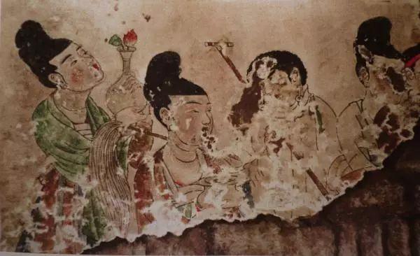 长乐公主墓壁画《四侍女图》
