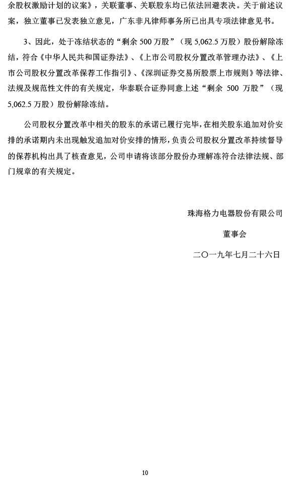 格力电器:股权分置改革剩余冻结股份拟申请解除冻结