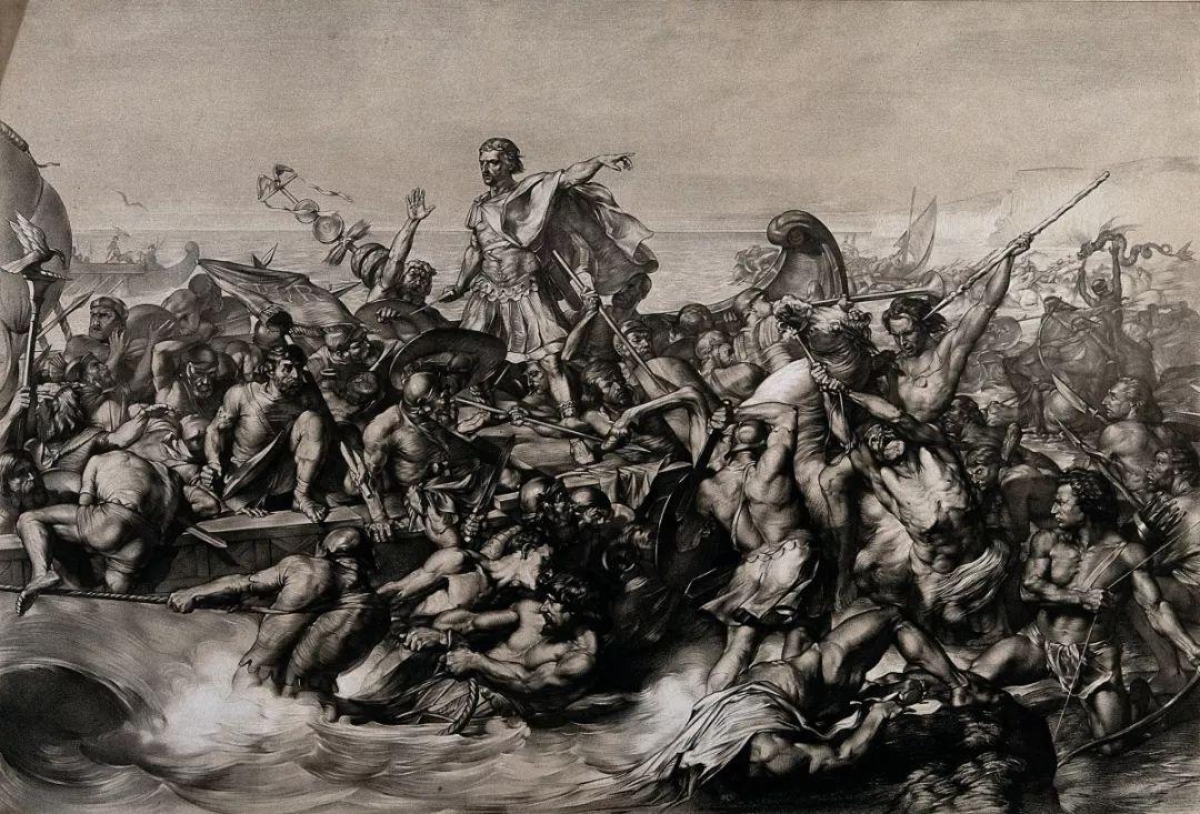 恺撒率领罗马士兵入侵不列颠岛,@Edward Armitage