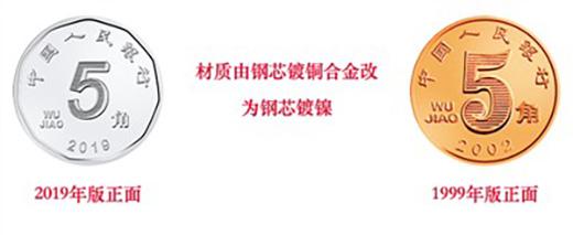 <b>5角硬币由黄变白,2019版第五套人民币揭开面纱</b>