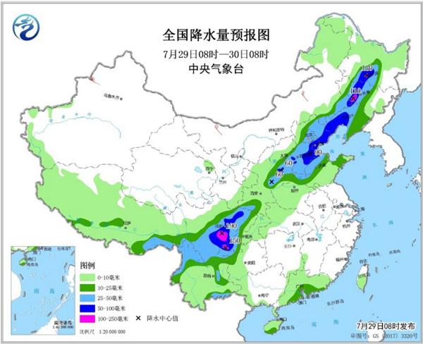 四川盆地华北东北局地有大暴雨,南方高温持续夜温近30℃