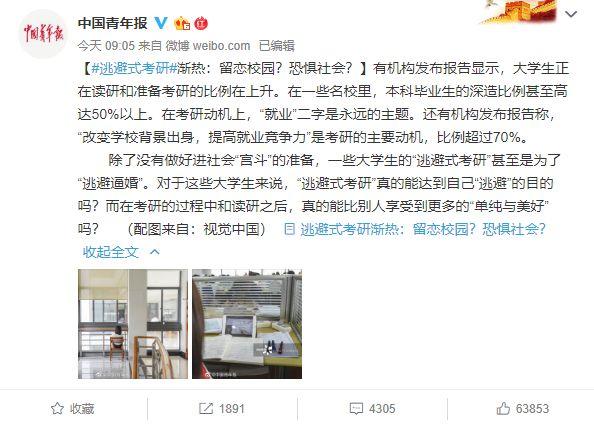 """""""逃避式考研""""上热搜,近七成网友考研为了提升学历好找工作"""