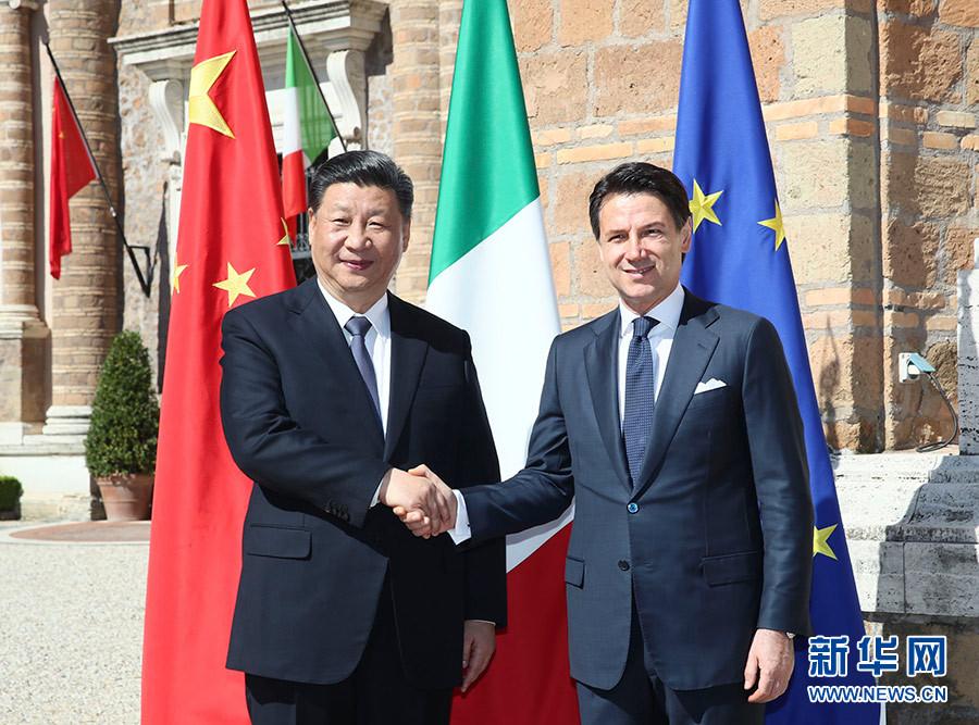 3月23日,国家主席习近平在罗马同意大利总理孔特会谈。 新华社记者 兰红光 摄