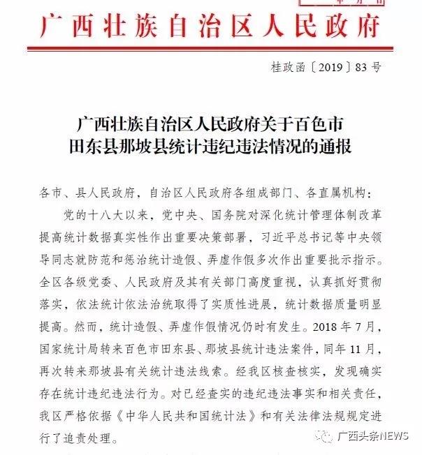 广西两县统计数据造假,副市长、县委书记等48人被处理