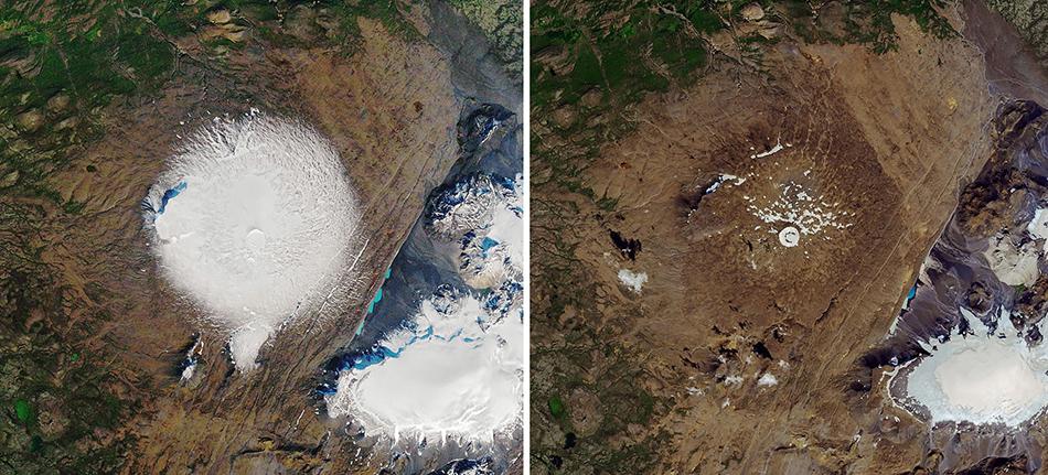 读图|NASA公布冰岛一座冰川30年前旧照,如今只
