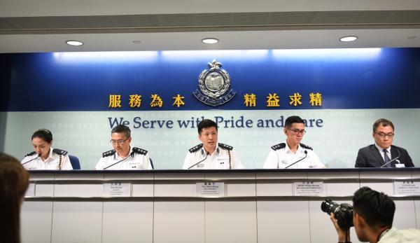 8月20日,香港警方举行记者会,介绍相关情况。 新华社 图