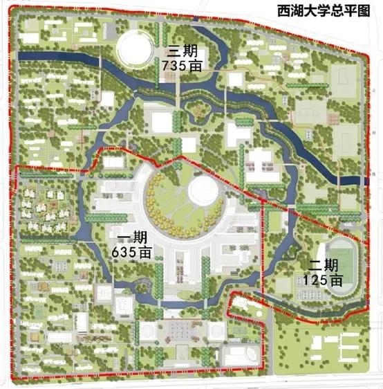 杭州市西湖区规划图_西湖大学主校区:一期整体桩基施工基本完成,二期上个月启动 ...