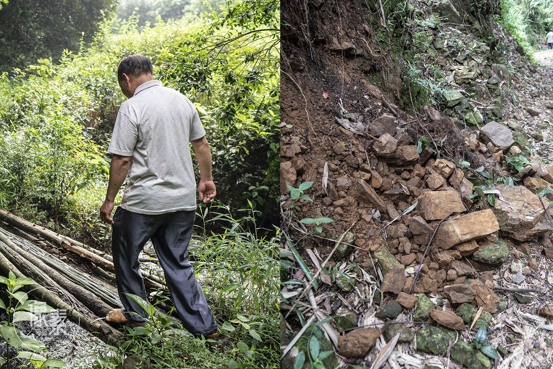 (张汝球和林计有半路上遇到山坡滚落碎石、途径小木桥)