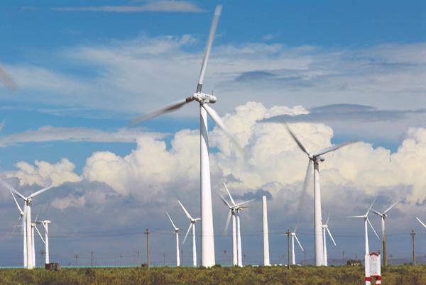邮储银行积极发展绿色金融,助力美丽中国建设。图为邮储银行贷款支持的风力发电项目。