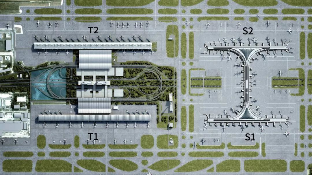 浦东国际机场航站楼+卫星厅示意图