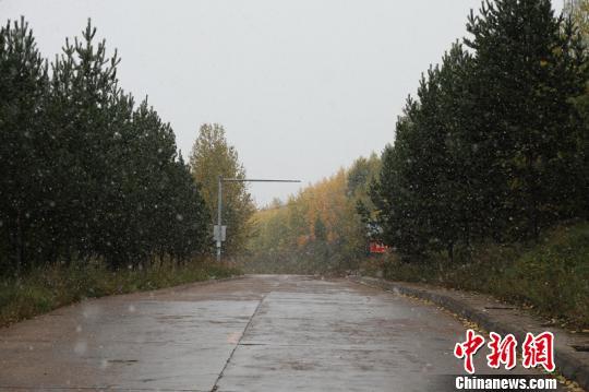 9月15日15时许,漠河市降下今年入秋后的首场降雪。 王景阳 摄