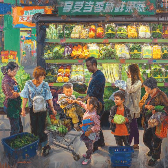 十三届全国美展油画展区作品:赵晓东 -重庆 《果蔬欢·百姓乐》
