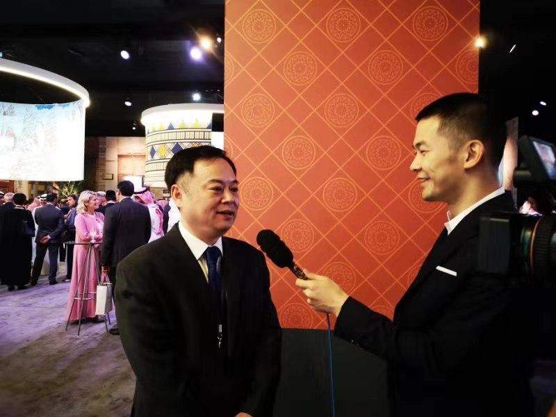 9月27日晚,中国驻沙特大使陈伟庆接受媒体采访。中国驻沙特大使馆官网 图