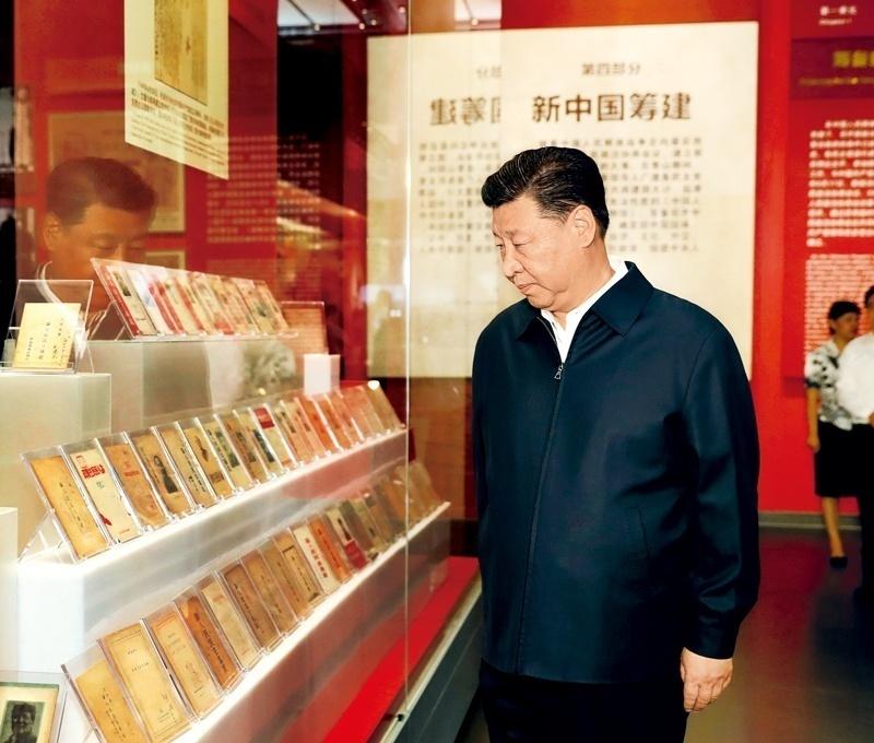 2019年9月12日,習近平在香山革命紀念館參觀《為新中國奠基》主題展覽。新華社記者 黃敬文?攝