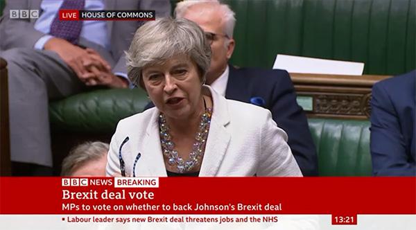 特雷莎·梅呼吁投票支持约翰逊新协议,称辩论的场景似曾相识