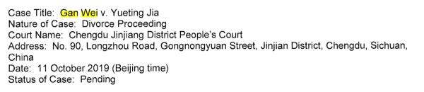 贾跃亭在美国申请个人破产重组前夕,与甘薇进入离婚诉讼程序