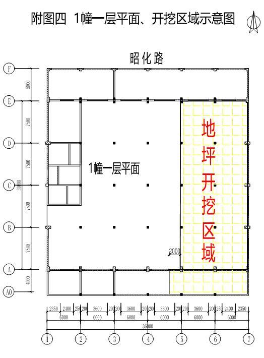 图9①幢厂房1层平面开挖示意图