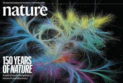 《自然》150周年特刊的封面局部。 图片来源:《自然》
