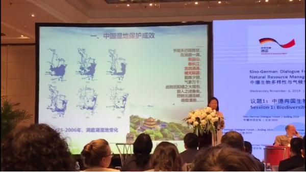 """中国林科院副院长崔丽娟教授以生动的案例、旁征博引的语言分享了""""中国最佳实践:湿地保护和修复""""。笔者印象最深刻的是在问答环节中,她提到在湿地恢复中,要考虑""""流域""""的概念,谨慎使用跨流域调水。还提到实际上蓝藻、绿藻的爆发的根本原因。"""