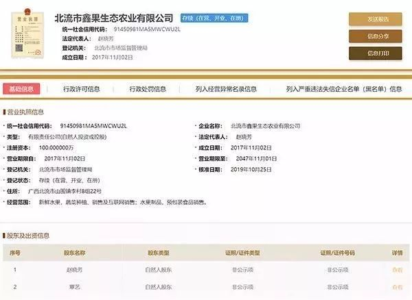 果小云旗艦店所屬公司股東為趙曉芳、覃藝。