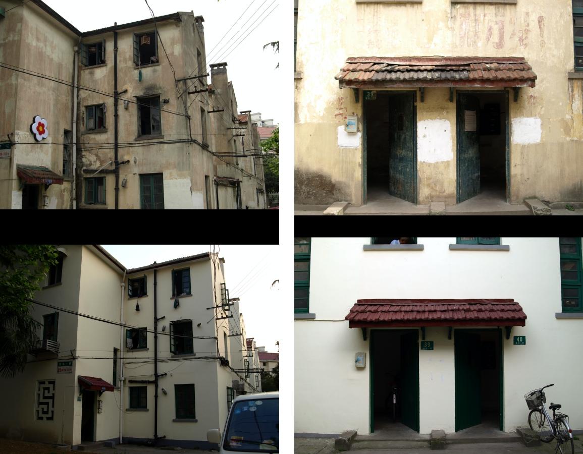 曹杨新村迎世博外墙粉刷前后,杨辰摄于2009及2010年