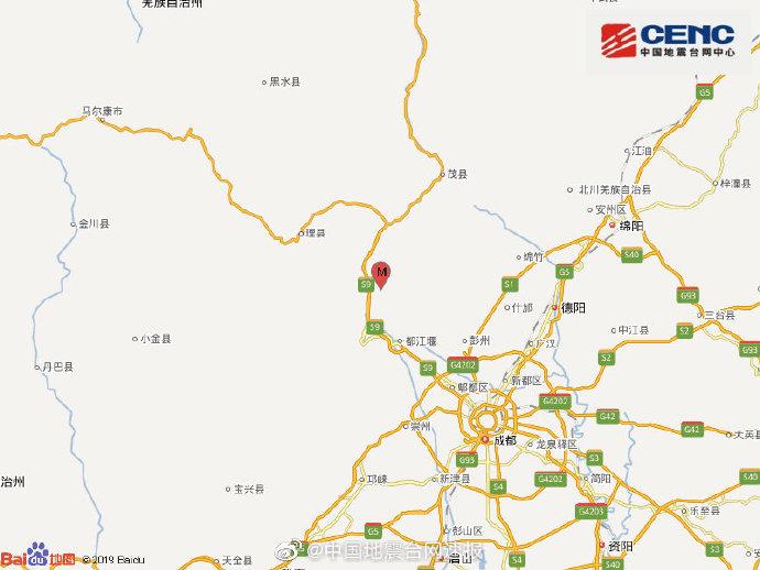 四川阿坝州汶川县发生3.4级地震,震源深度22千米
