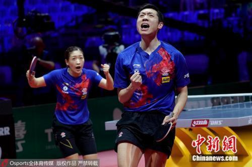 许昕、刘诗雯庆祝胜利。图片来源:Osports全体育图片社