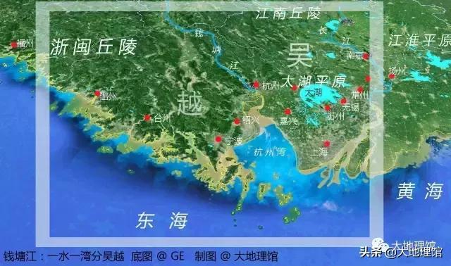 杭州、太湖平原、钱塘江与吴语区(江南)与中国的位置关系