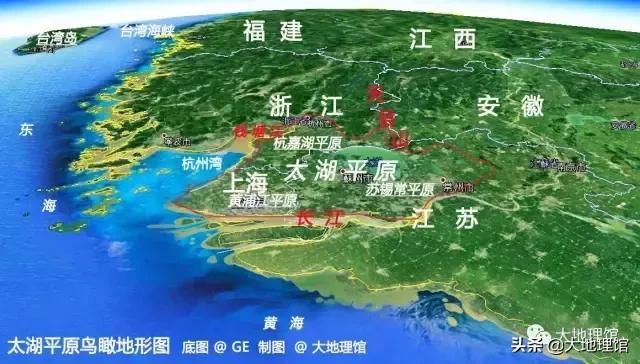 ▲太湖平原及周边地区地形遥感图