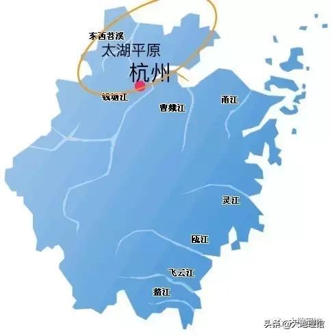 杭州与太湖平原、钱塘江的位置关系