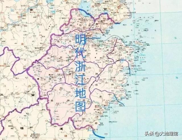 ▲明代浙江行政区来源 谭其骧《中国历史地图集》