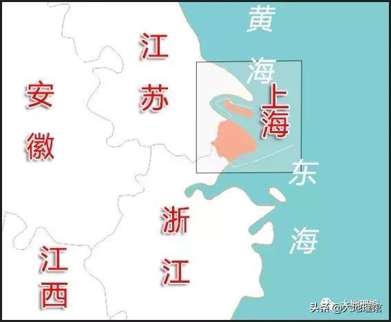 /上海地理位置图(红色为上海陆地区域)/制图-大地理馆