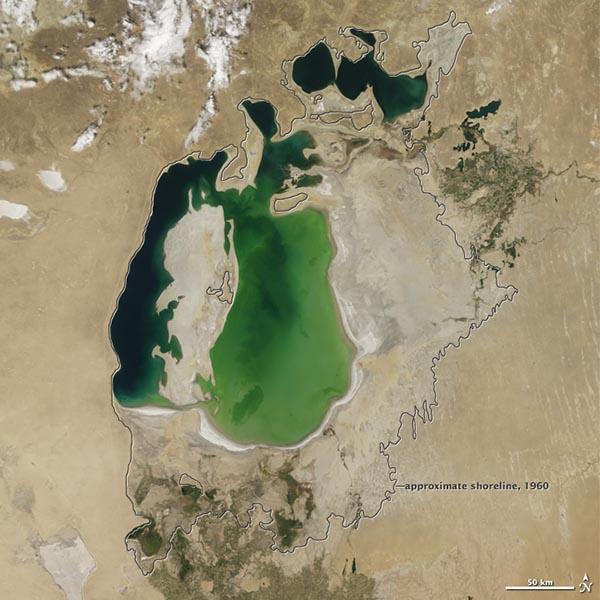 """NASA卫星图片显示""""咸海""""濒临死亡"""