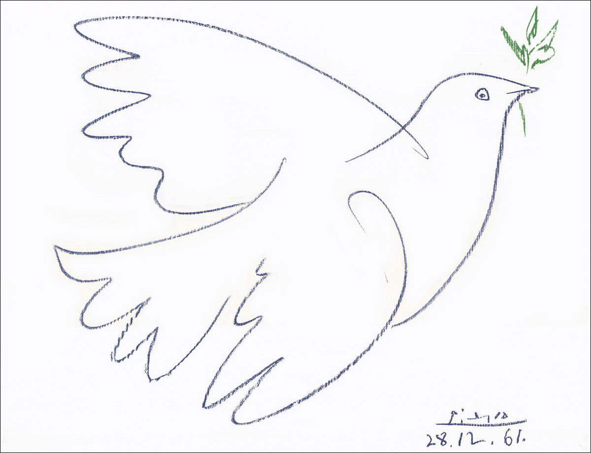 笔画出的白鸽才真正让这一符号被普及并公认为和平的