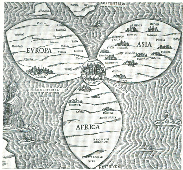 16世纪晚期的一幅展示耶路撒冷是世界中心的德国地图