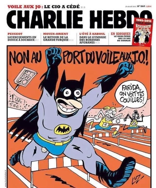 由于当时美国丹佛发生蝙蝠侠电影首映枪击案,在《查理周刊》图片