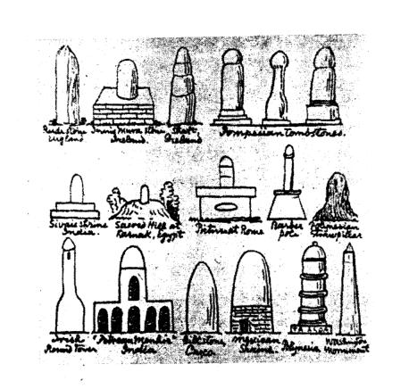"""而人们也渐渐都""""看山不是山""""了,比如一本书中画的外国塔,石柱,墓碑和"""