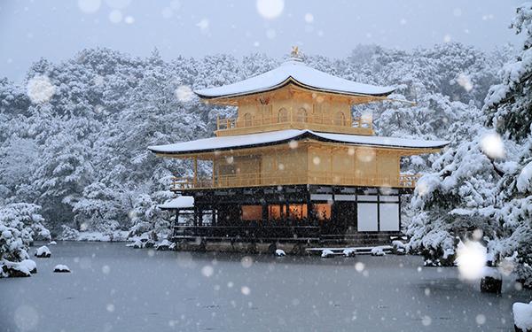 """京都的临济宗鹿苑寺,以舍利殿""""金阁""""闻名而被称为""""金阁寺"""",""""金阁""""周围的庭园、建筑旨在表现佛教的""""极乐净土"""""""
