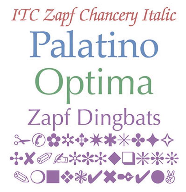 他的设计中,最知名的两款要属帕拉提诺(Palatino)和奥普蒂玛体(Optima),分别创作于1948年和1952年。其中帕拉提诺这款字体细节丰富,得名于16世纪意大利书法家将巴提萨帕拉提诺(Giambattista Palatino)。1984年帕拉提诺体成为PostScript的35种核心字体之一,之后便风靡全球。奥普蒂玛体则由察普夫在1952年为Stempel公司设计,但他本人并不喜欢这个由Stempel的市场专员