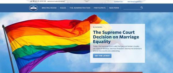 白宫twitter6月26日当天就换上了有彩虹旗元素的头像